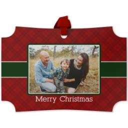 Thumbnail for Modern Corners Metal Ornament with Christmas Plaid design 1