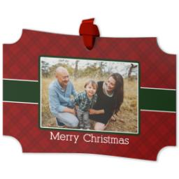 Thumbnail for Modern Corners Metal Ornament with Christmas Plaid design 2