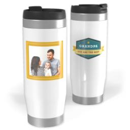 Thumbnail for Premium Tumbler Photo Travel Mug, 14oz with Grandpa Banner design 1