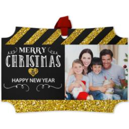 Thumbnail for Modern Corners Metal Ornament with Merry Christmas, Happy New Year Black And Gold Glitter design 1