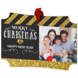 Thumbnail for Modern Corners Metal Ornament with Merry Christmas, Happy New Year Black And Gold Glitter design 2