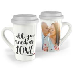 Thumbnail for Premium Grande Photo Mug with Lid, 16oz with Need Love design 1