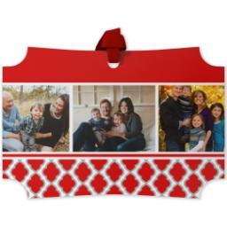 Thumbnail for Modern Corners Metal Ornament with Red Damask design 1