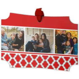 Thumbnail for Modern Corners Metal Ornament with Red Damask design 2