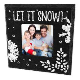 Thumbnail for Slate Square Ornament, Let it snow with Full Photo design 2