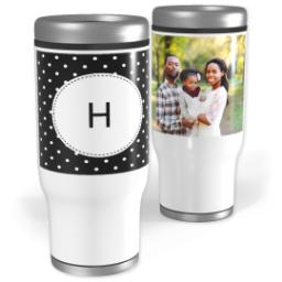 Thumbnail for Stainless Steel Tumbler, 13oz with Custom Color Monogram Mini Dots design 1