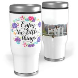 Thumbnail for Stainless Steel Tumbler, 13oz with Enjoy Little Things Bouquet design 1