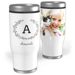 Thumbnail for Stainless Steel Tumbler, 13oz with Laurel Monogram design 1