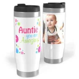 Thumbnail for Premium Tumbler Photo Travel Mug, 14oz with Amazing Aunt design 1