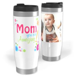 Thumbnail for Premium Tumbler Photo Travel Mug, 14oz with Amazing Mom design 1