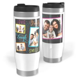 Thumbnail for Premium Tumbler Photo Travel Mug, 14oz with Colorful Family Chalkboard design 1