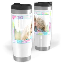 Thumbnail for Premium Tumbler Photo Travel Mug, 14oz with Flower Frame design 1