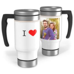 Thumbnail for Stainless Steel Photo Travel Mug, 14oz with I Heart design 1