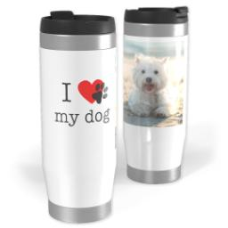 Thumbnail for Premium Tumbler Photo Travel Mug, 14oz with I Heart Paw Print My Dog design 1