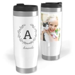 Thumbnail for Premium Tumbler Photo Travel Mug, 14oz with Laurel Monogram design 1