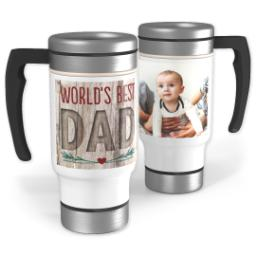 Thumbnail for Stainless Steel Photo Travel Mug, 14oz with World's Best Natural Dad design 1