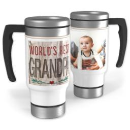 Thumbnail for Stainless Steel Photo Travel Mug, 14oz with World's Best Natural Grandpa design 1