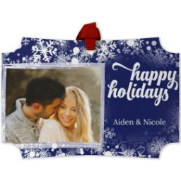 Thumbnail for Modern Corners Metal Ornament with Holiday Snow Flurry design 1