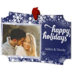Thumbnail for Modern Corners Metal Ornament with Holiday Snow Flurry design 2