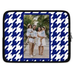 Thumbnail for Laptop Case with Blue Houndstooth design 1
