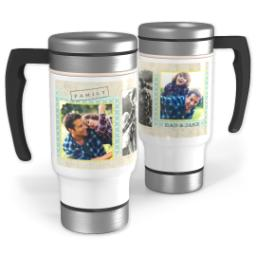 Thumbnail for Stainless Steel Photo Travel Mug, 14oz with Family Scrapbook design 1