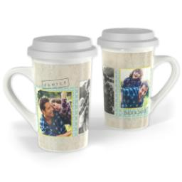 Thumbnail for Premium Grande Photo Mug with Lid, 16oz with Family Scrapbook design 1