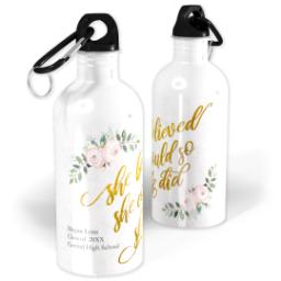 Thumbnail for Photo Water Bottle, 20oz with She Believed White design 1