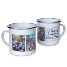 Thumbnail for 12oz Enamel Campfire Mug with Happy Camper Stars design 1
