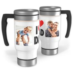 Thumbnail for Stainless Steel Photo Travel Mug, 14oz with I Heart Dad design 1