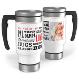 Thumbnail for Stainless Steel Photo Travel Mug, 14oz with Grandpa Word Collage design 1